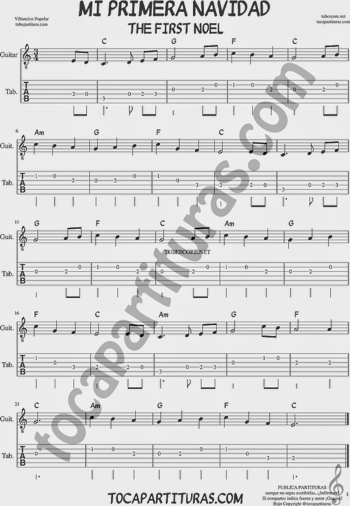 Tubescore The First Noel Tablature Sheet Music for Guitar Christmas Carol