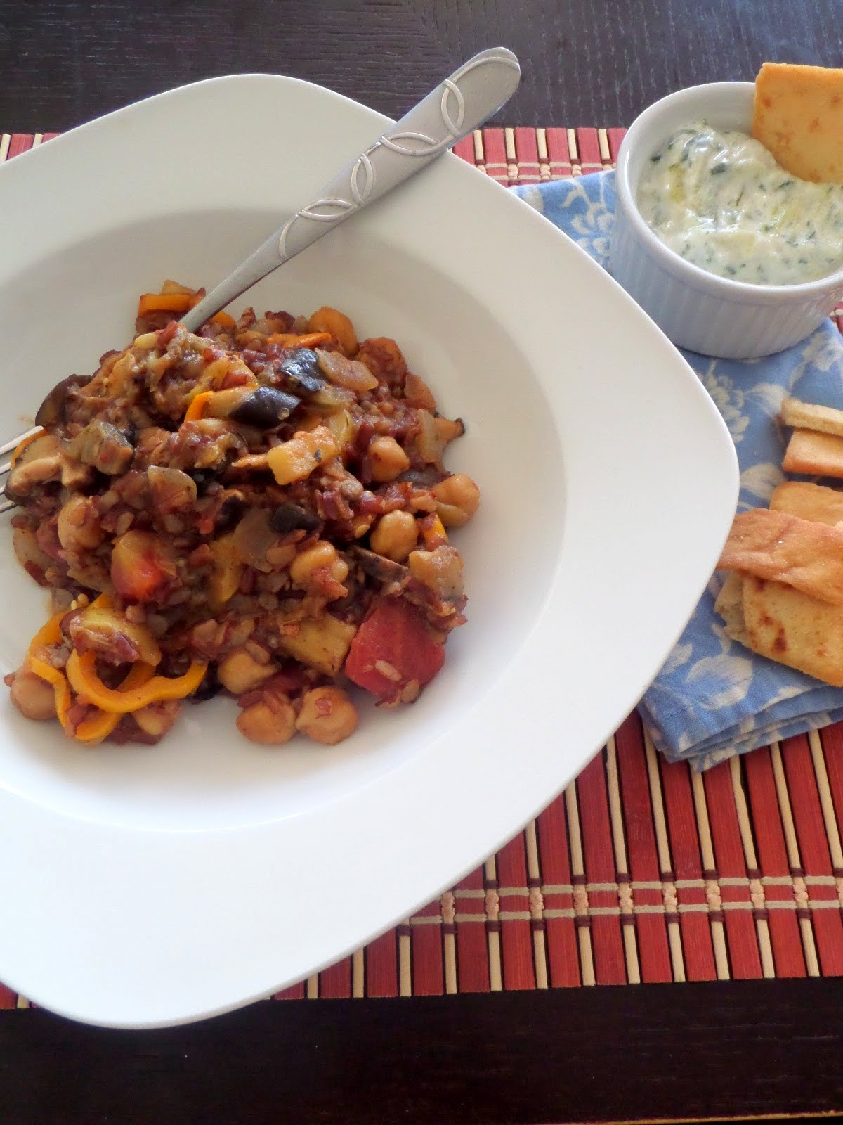 Greek Stew:  A meatless stew inspired by Greek flavors.