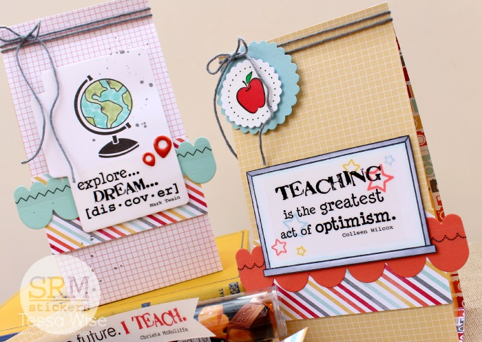 SRM Stickers Blog - Teacher Goodie Bags by Tessa - #teacher #gift #stickers #punched pieces #twine #tube