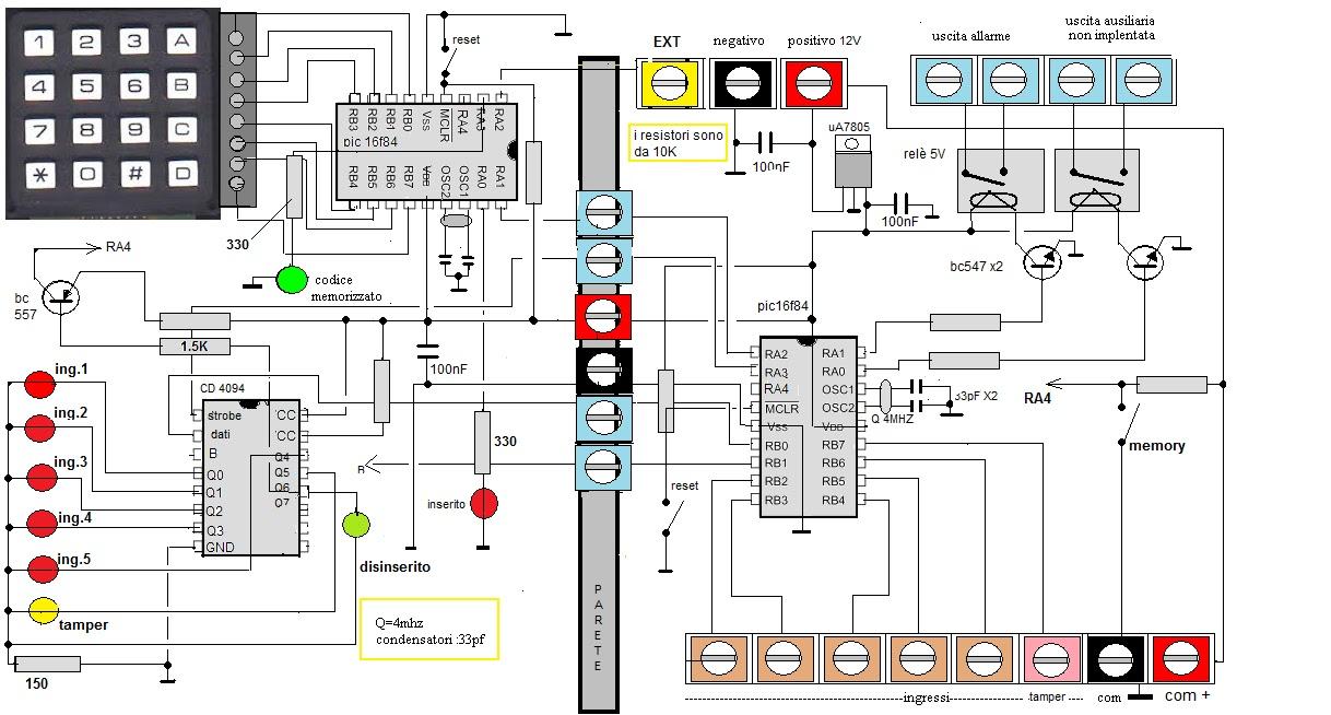Schema Collegamento Open Collector : Mie soluzioni antifurto con tastiera a ingressi e tamper