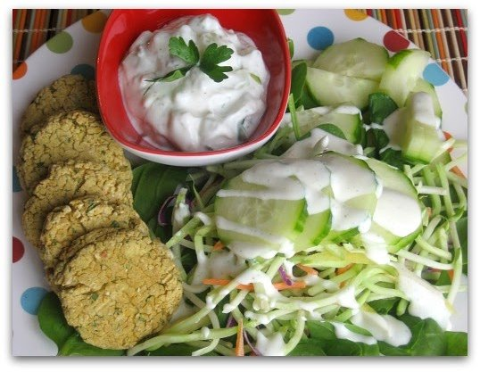 Baked Falafel Platter with Tzatziki Sauce