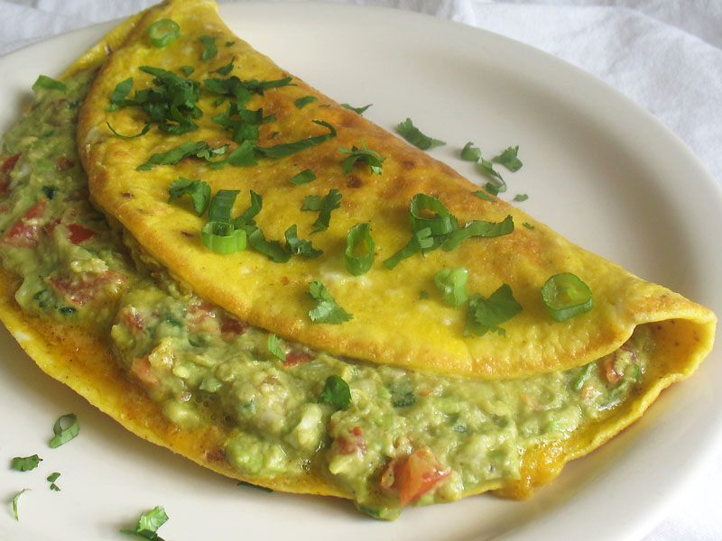 Guacamole Omelette With Salsa Recipe — Dishmaps