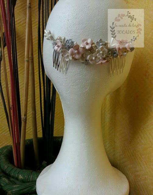 tocado para novia vintage en porcelana fría artesanal y económico