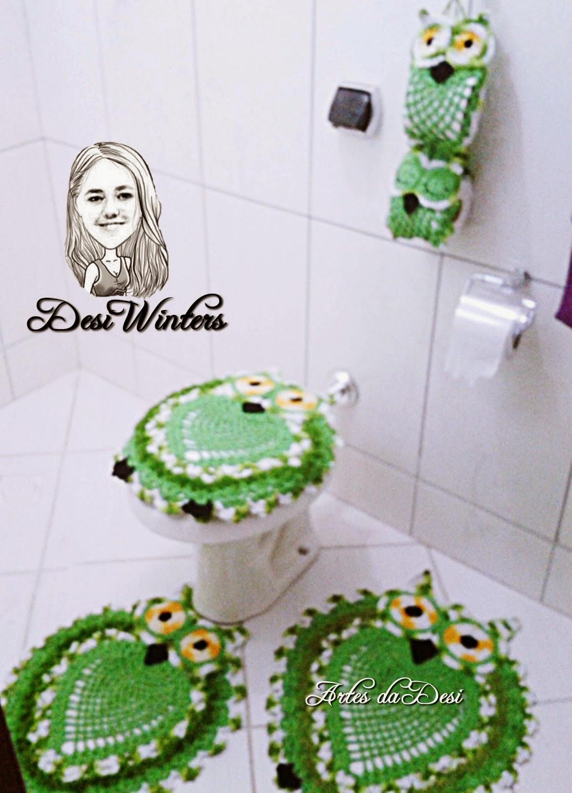 Jogo de banheiro Corujas de crochê Desi* Artesanatos em Crochê  #26310E 1154x1600 Balança De Banheiro G Tech