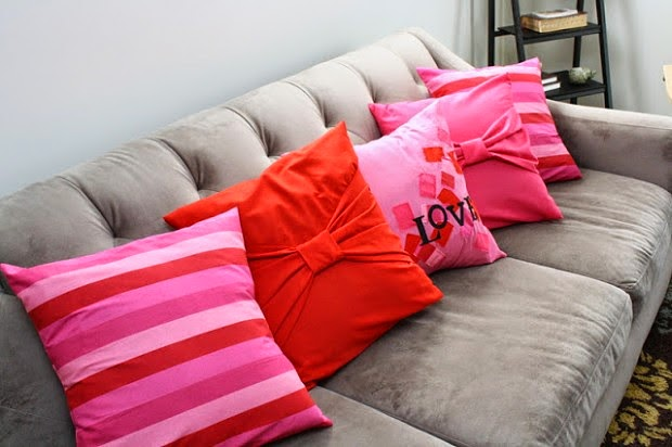 Pink And Red Cushions On Grey Couch - Shopping, Style and Us