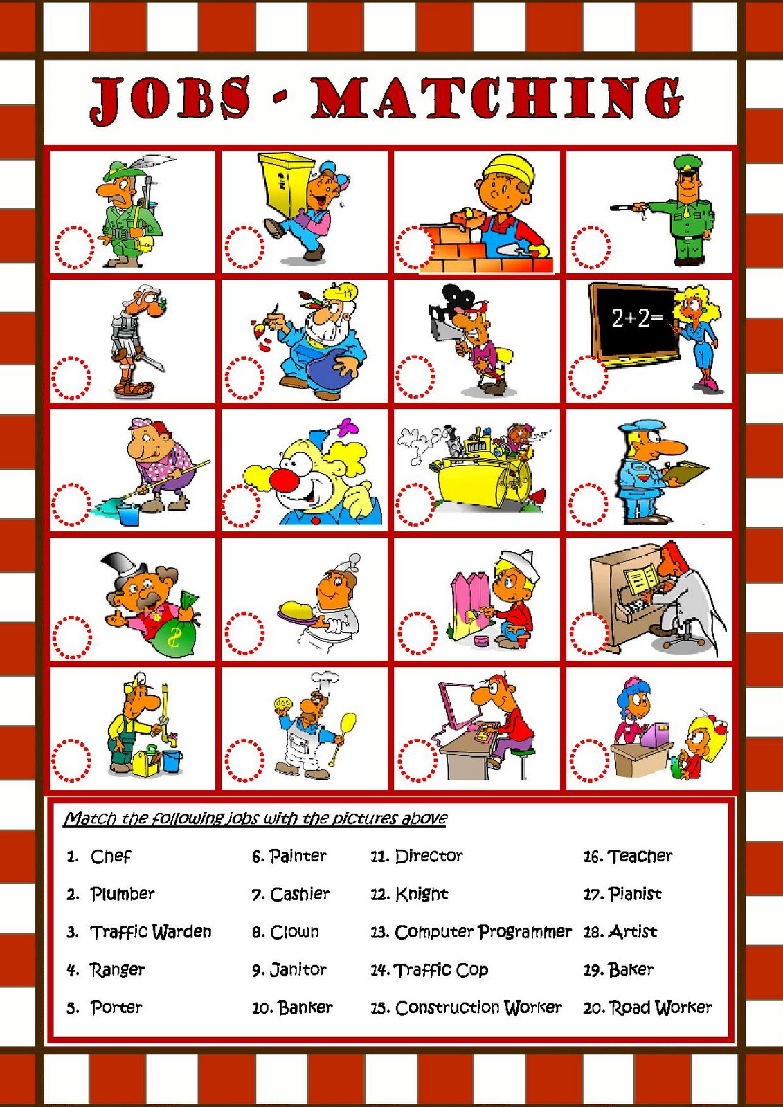 My english class jobs matching english printable worksheet jobs matching english printable worksheet robcynllc Images