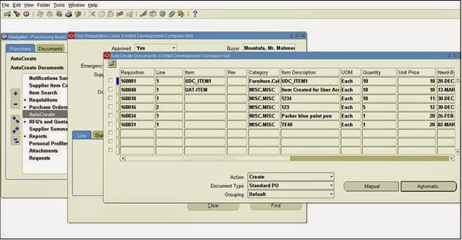 Oracle Applications Oracle Purchase Order Requisition RFQ – Standard Purchase Order Form