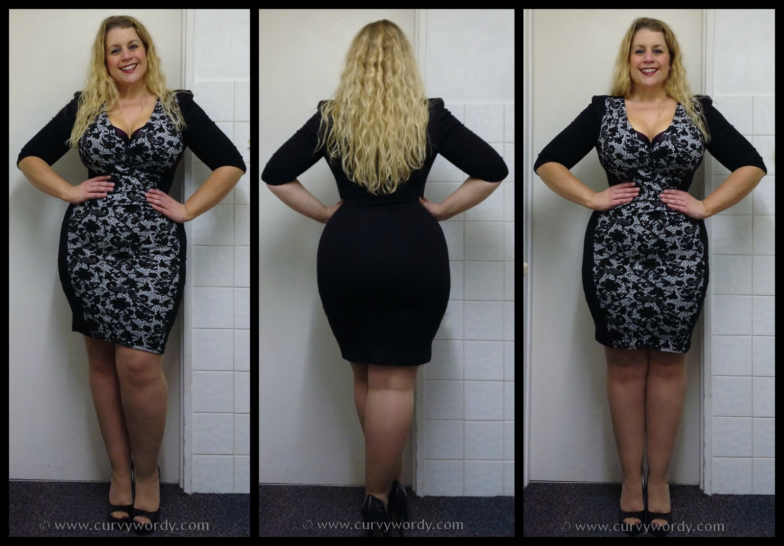 F F Clothing At Tesco Julia Plus Size Lace Panel Illusion Dress 18 Curvy Wordy