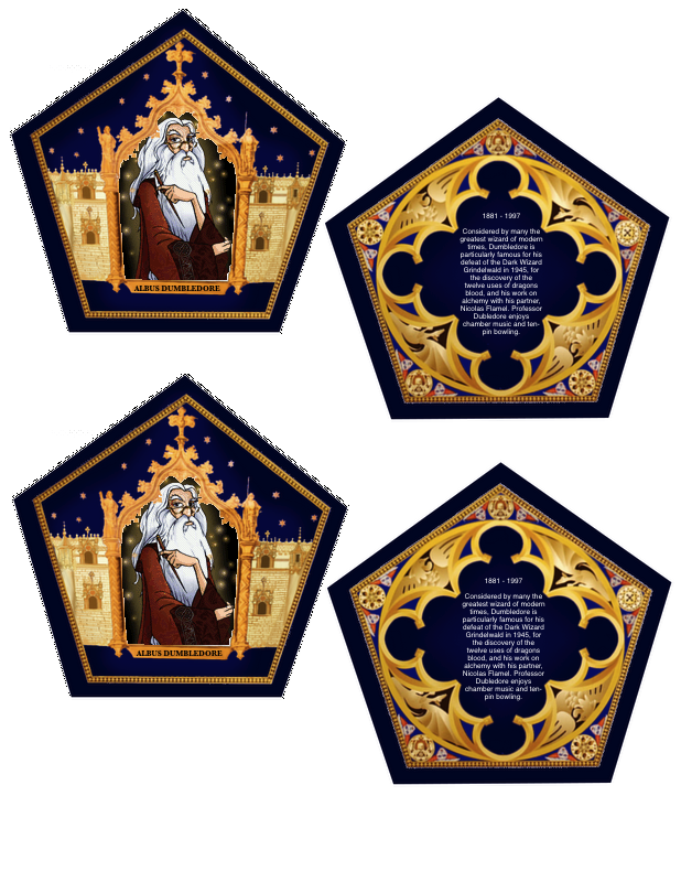 Fan image within harry potter chocolate frog cards printable