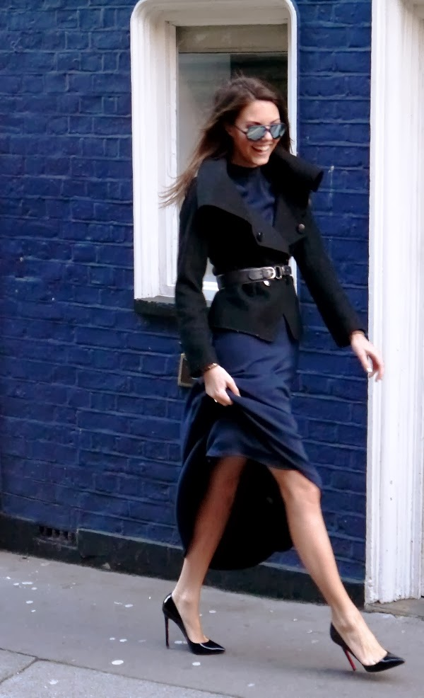Black wool jacket over navy blue maxi dress with Christian Louboutin Pigalle stilettos and Rayban aviators