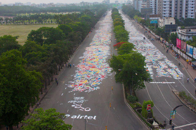 pohela baishakh celebration in bangladesh road art