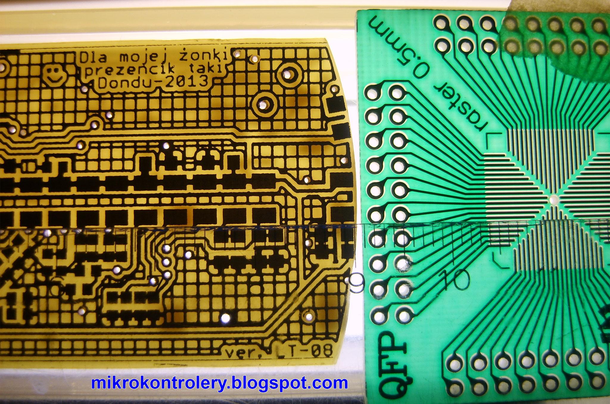 Porównanie płytki PCB wykonanej w warunkach domowych z płytką fabryczną - raster 0,5mm.