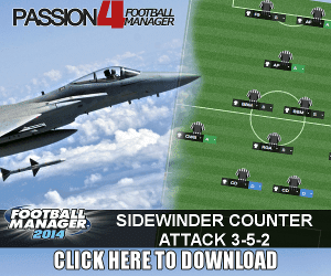 FM14 Counter Attacking Tactic Sidewinder 3-5-2