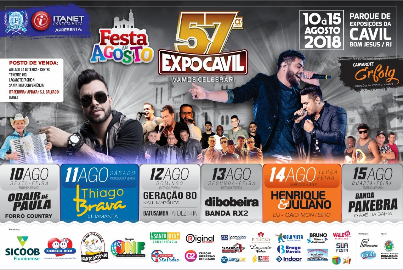 57ª EXPOCAVIL - FESTA DE AGOSTO 2018 DE BOM JESUS