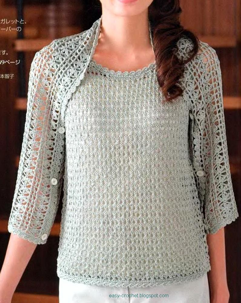 Crochet Bolero Pattern : Ladies Crochet Shrug - free pattern