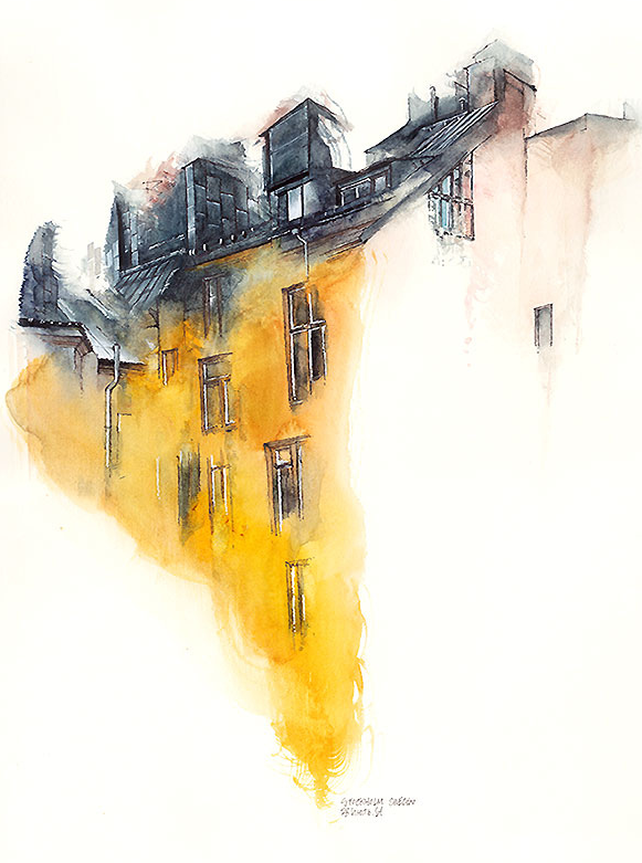 Water colour picture of Stockholm, Sweden