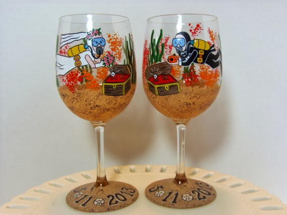 Kudos Kitchen By Renee Custom Scuba Diver Wine Glasses