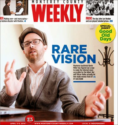 Kevin Miller on the cover of the Monterey County Weekly