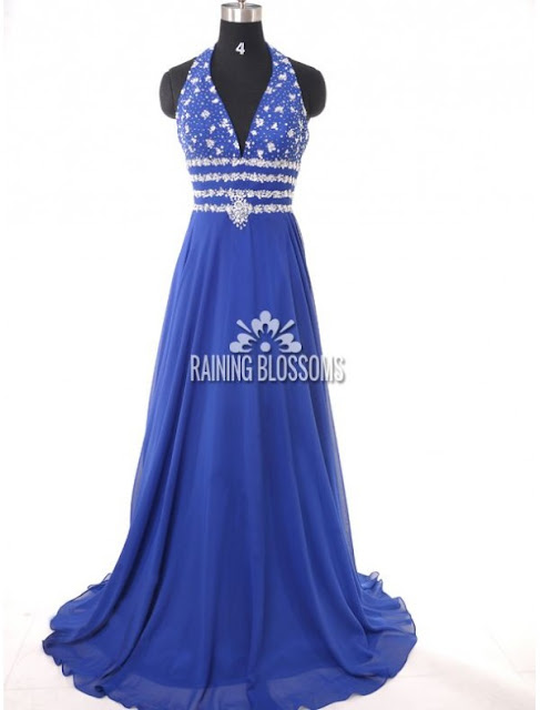 Chiffon Halter Neckline A-Line Evening Dress with Beaded Appliqued Bodice