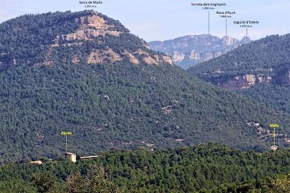 Més cap el nord, entre la Serra de Malla i els Cingles de Sant Salvador, treuen el cap tres cims emblemàtics dels Rasos de Peguera: el Cogulló d'Estela, la Roca d'Auró i la Torreta dels Enginyers. Més a prop nostre apareixen les masies de Planés i Malla, totes dues del terme de L'Espunyola