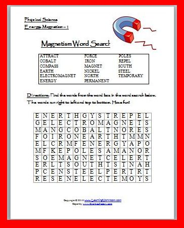 Classroom Freebies: Magnetism Word Search Puzzle