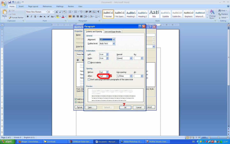 cara membuat default paragraf di word 2007