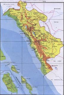 Peta Propinsi Sumatera Barat pulau Sumatera