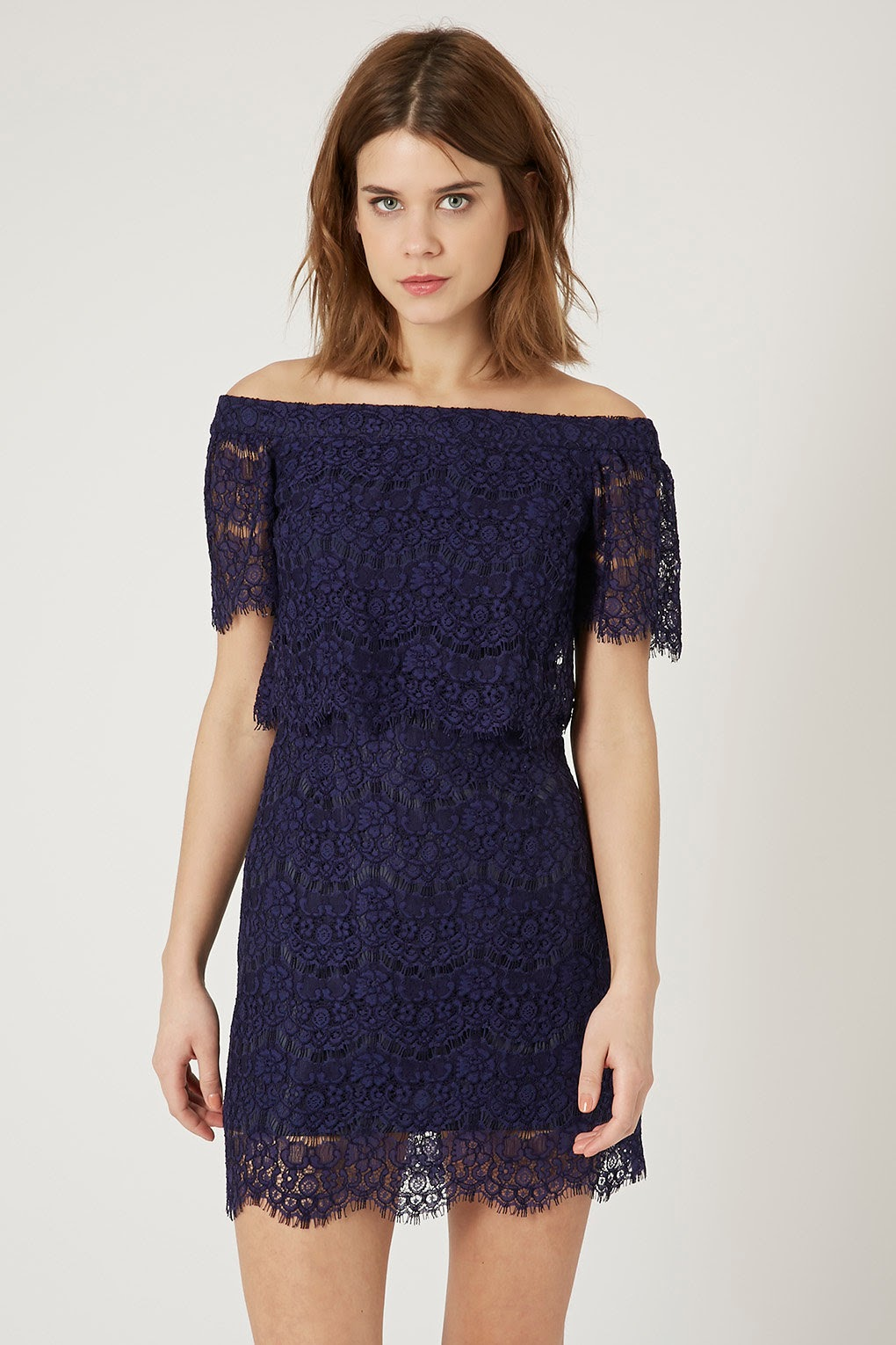 topshop navy lace dress