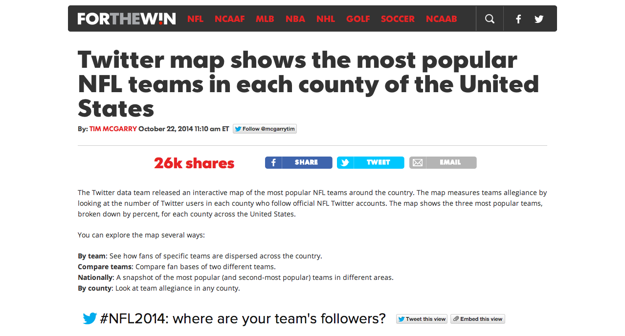 this is mainly due to the direct integration of twitter s nfl fan map into the article