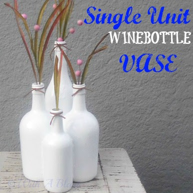 Single Unit Winebottle Vase ~ Easy DIY Vase made using 4 bottles, glued together to form 1 Unit #Vase #DIY #WinebottleCrafts