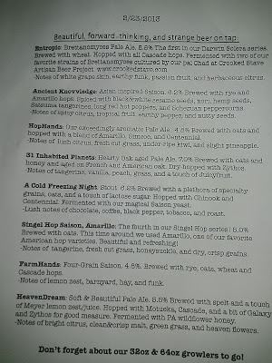 Tired Hands beer menu