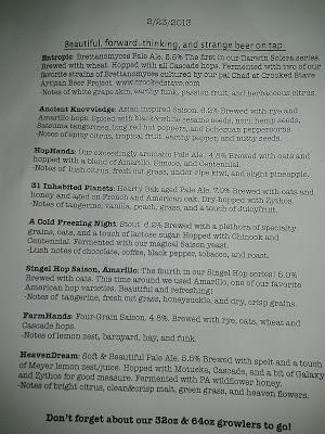 Tired Hands beer menu