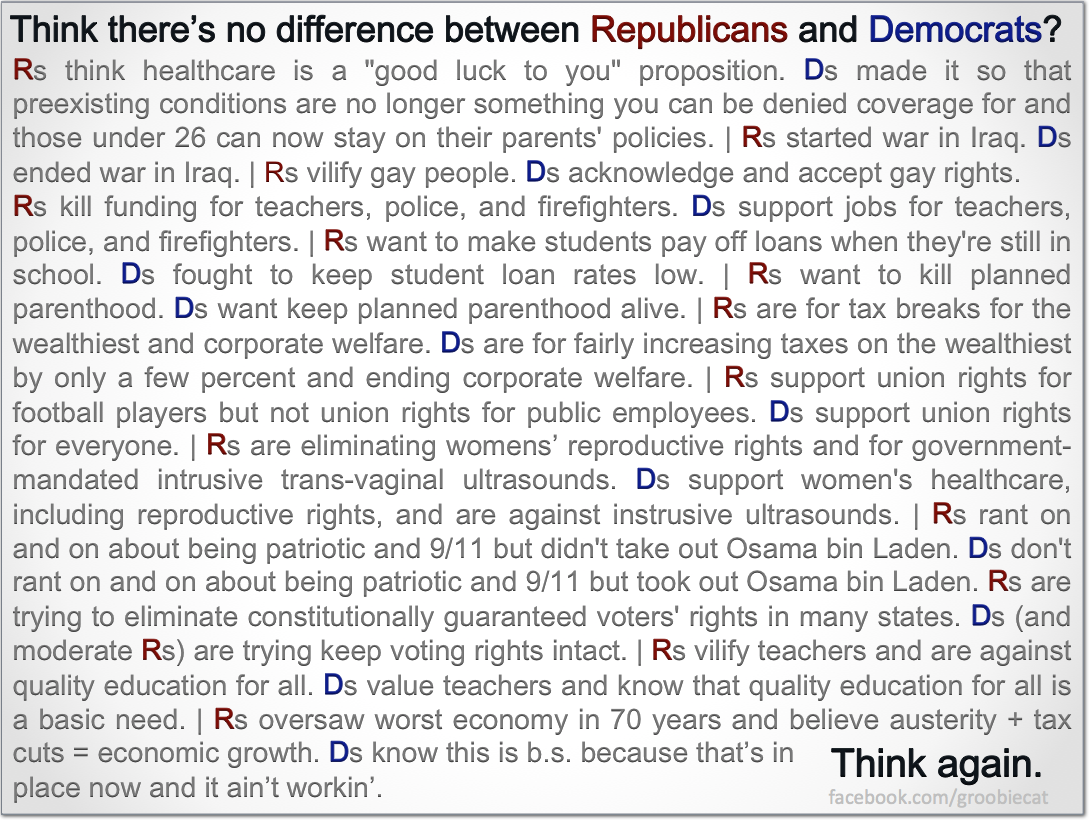 comparing the similarities and differences between the democrats and republicans Differences between democrats and republicans the political landscape of the united states is dominated by two major parties, the democrats and republicans though there are some differences between democrats and republicans, it's next to impossible to classify everyone based on every political issue, there are many specific important points .
