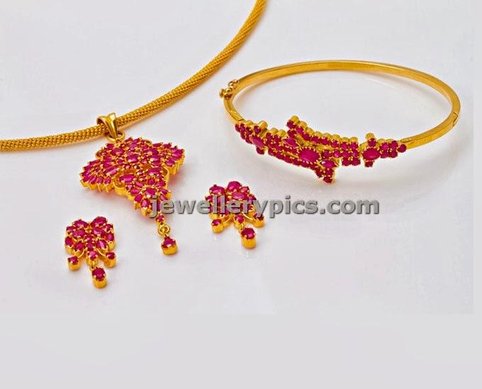 ruby pendent set earrings bracelet combo jewellery