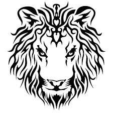 Motif Tato Singa Hitam Putih 8