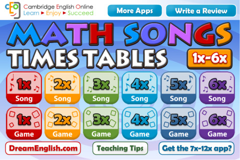 Math s song times tables 1x 6x hd for 10 times table song
