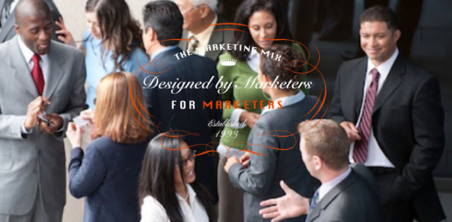 A group of diverse business people network with The Marketing Mix Logo and motto.