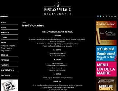 Captura de pantalla del menú vegetariano en la Web del Restaurante Finca Santiago.