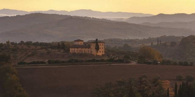 Castello del Nero setting, Chianti Region, image via Castell del Nero website, edited by lb for linenandlavender.net: http://www.linenandlavender.net/2010/01/design-daily-hotel-feature-castello-del.html