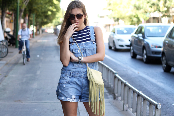 dungaree shorts and stripes