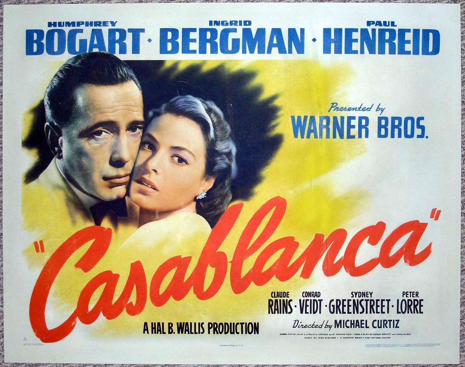 A mythical monkey writes about the movies the katie bar the door awards 1942 for Poster casablanca