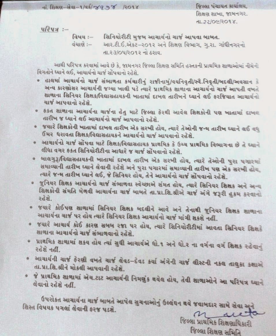Principal Charge Related Circular Jamnagar District