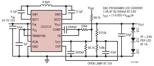 10W Power LED Driver using LTC3112 DC Converter