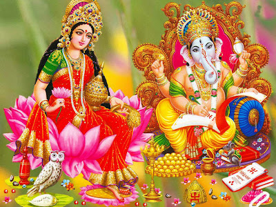 Goddess Laxmi with Lord Ganesha