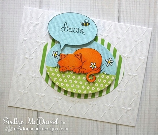 Dreaming kitty card by Shellye McDaniel for Newton's Nook Designs - Newton's Daydream Cat stamp set