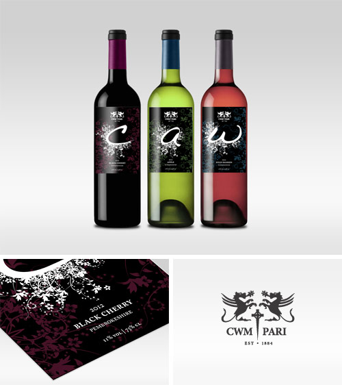 Cwm Pari Estate Wine Labels with typographic illustration