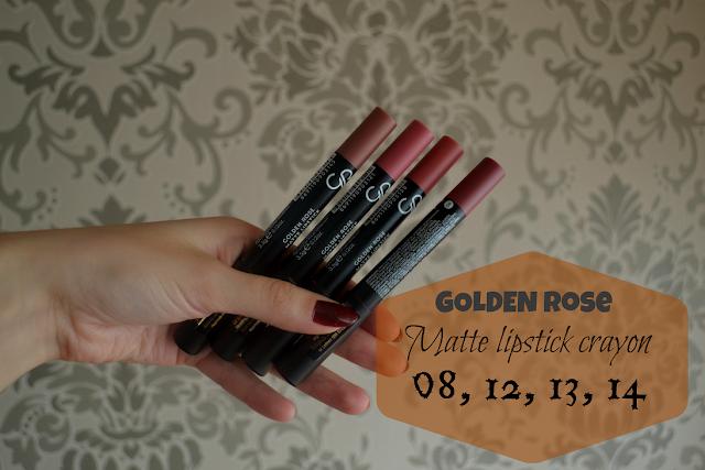 Golden Rose Matte Lipstick Crayon - matowa szminka w kredce. Nowe kolory + swatche 08,12,13,14