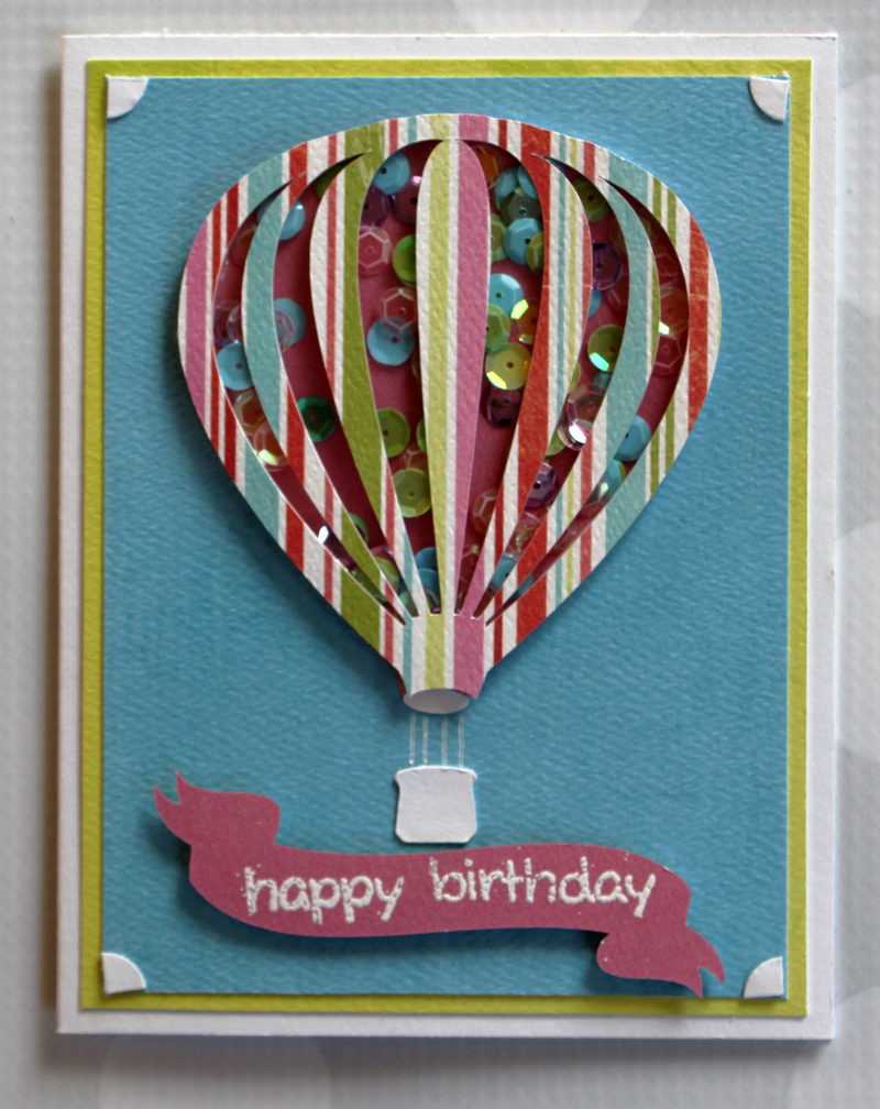 Taylor stamped hot air balloon shaker card do you love shaker cards as much as i do there seems to me no end to the pretty things you can fill with sequins glitter or bits of paper to make bookmarktalkfo Image collections