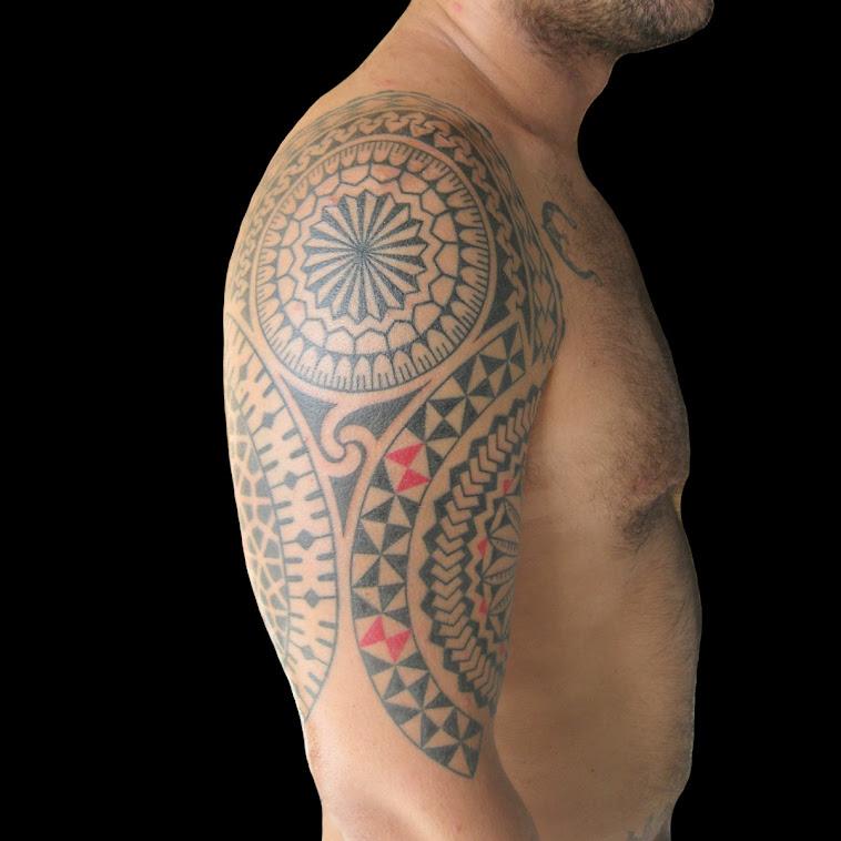 Mixed style hand poked tattoo