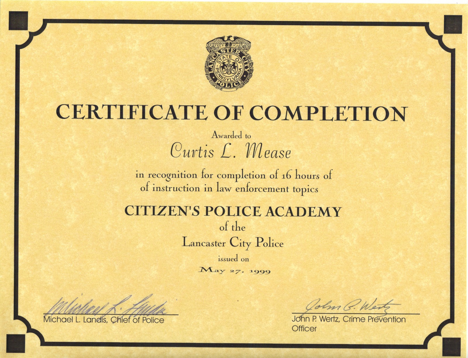 police training certificate template gallery